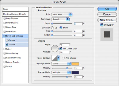 Bevel/Emboss Settings