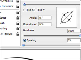 Angle and roundness settings