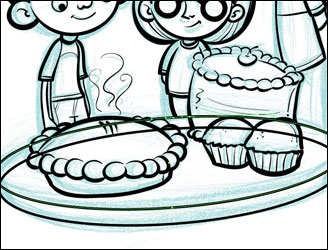Drawing my Bake Sale table.